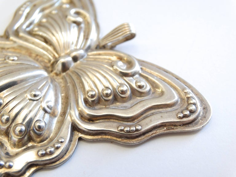 1980s Butterfly Silver Whistle Pendant  For Sale 1