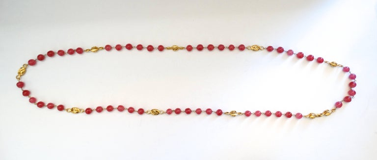 Women's Chanel Pink Gripoix Necklace, 1997   For Sale
