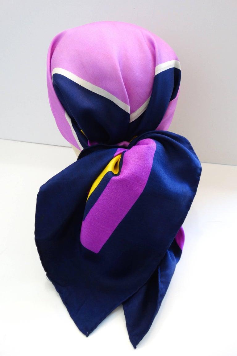 Women's Yves Saint Laurent Color Block Silk Scarf, 1960s  For Sale