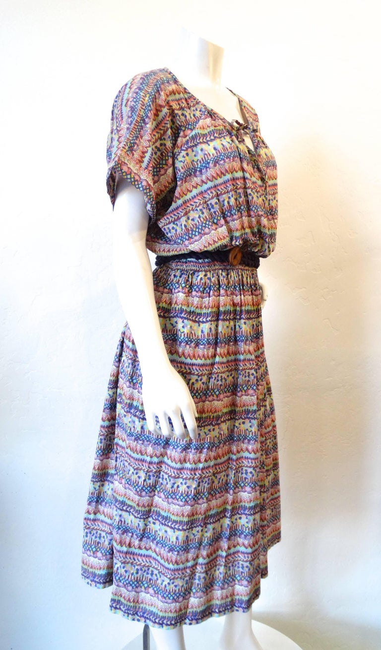 1970s Missoni for Bloomingdales Printed Belted Peasant Dress  In Excellent Condition For Sale In Scottsdale, AZ