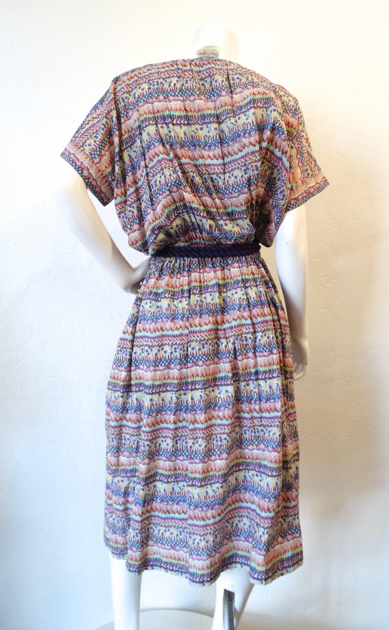 Women's 1970s Missoni for Bloomingdales Printed Belted Peasant Dress  For Sale