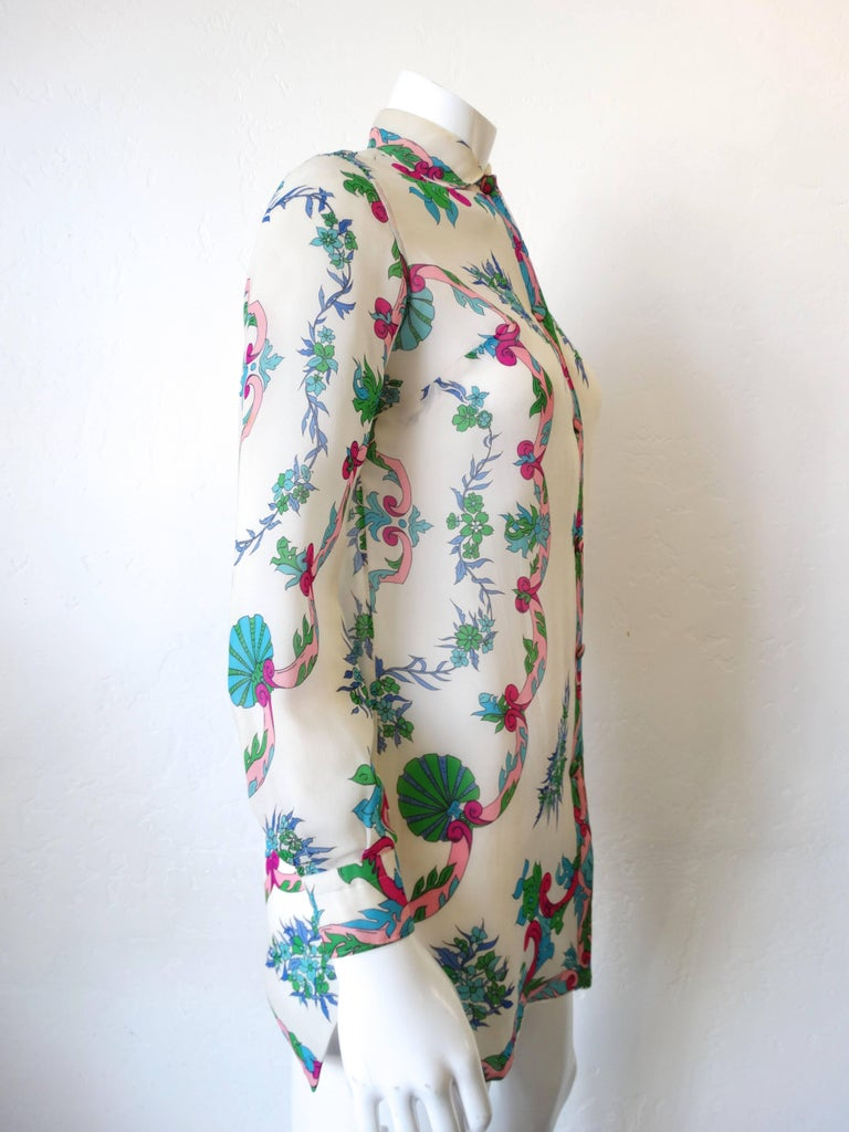 1960s Emilio Pucci Floral Printed Button Down  In Excellent Condition For Sale In Scottsdale, AZ