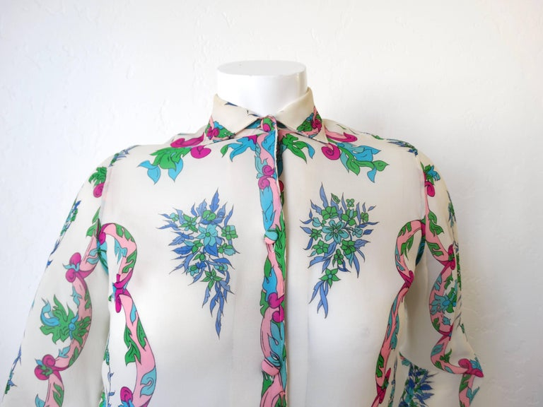 Gray 1960s Emilio Pucci Floral Printed Button Down  For Sale