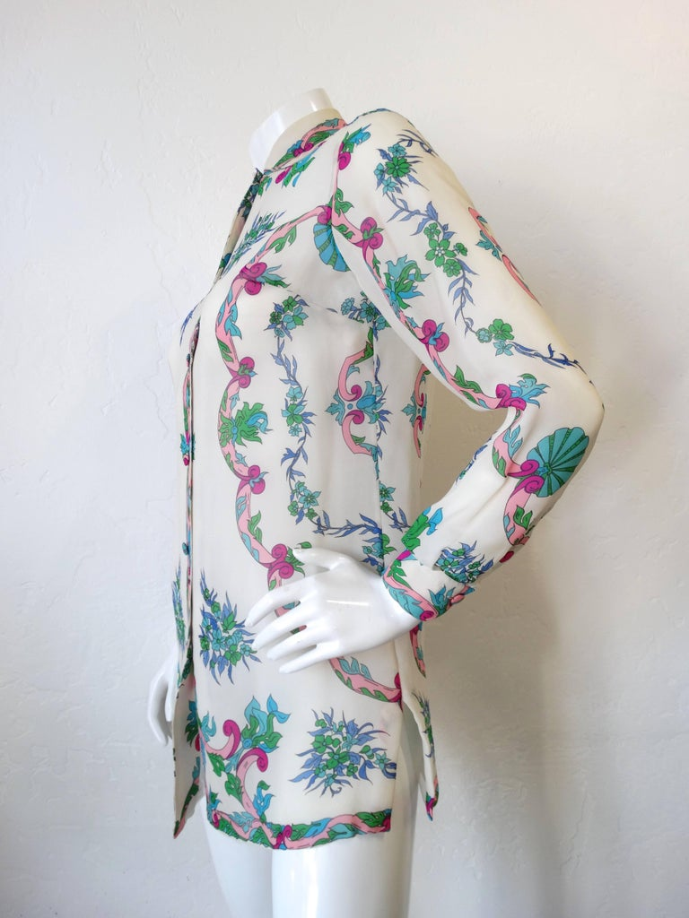 1960s Emilio Pucci Floral Printed Button Down  For Sale 1