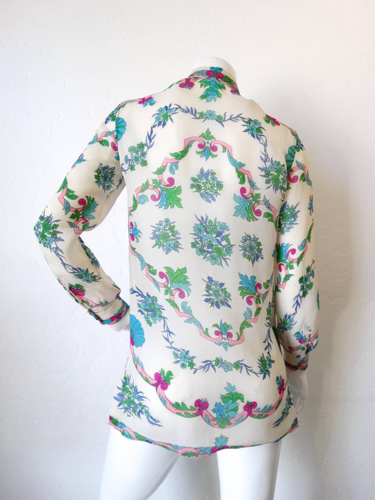 Women's 1960s Emilio Pucci Floral Printed Button Down  For Sale