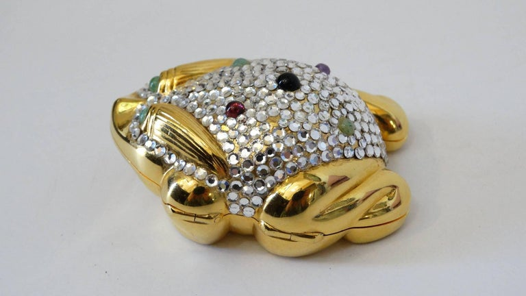 Rare 1984 Judith Leiber frog Pillbox with multi color Jade, Amethyst and Onyx stones with a push-lock closure.  Gold Plated hardware encrusted with Austrian Swarovski Crystals. Judith Leiber Signature inside Circa 1984.    0.9