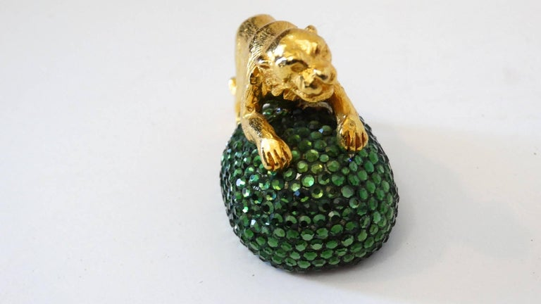 Extremely rare 1980's Judith Leiber Tiger vanity objet d'art . Gold plated hardware, with an encrusted Austrian Swarovski Crystals base. We have 8 in stock , see our other listings. Colors pink, green, white, blue and bronze, Signed Judith Leiber