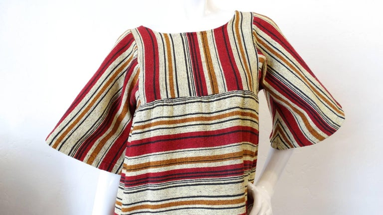 Brown Rikma Striped Bell Sleeve Blouse, 1970s  For Sale