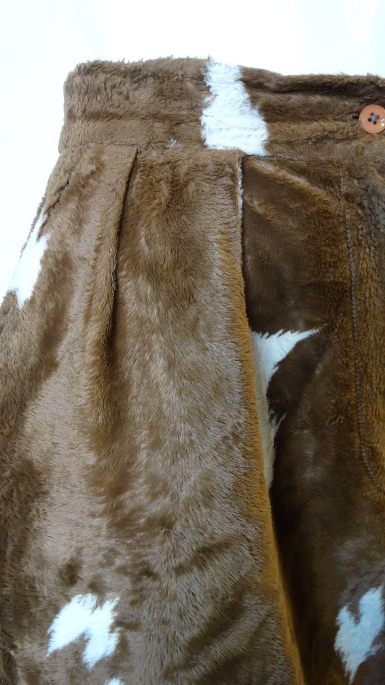Brown 1990s Faux Cowhide Fuzzy Pencil Skirt  For Sale