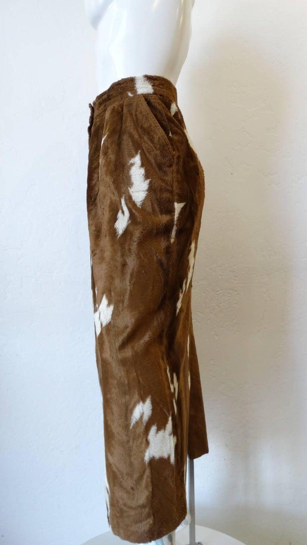 Women's 1990s Faux Cowhide Fuzzy Pencil Skirt  For Sale