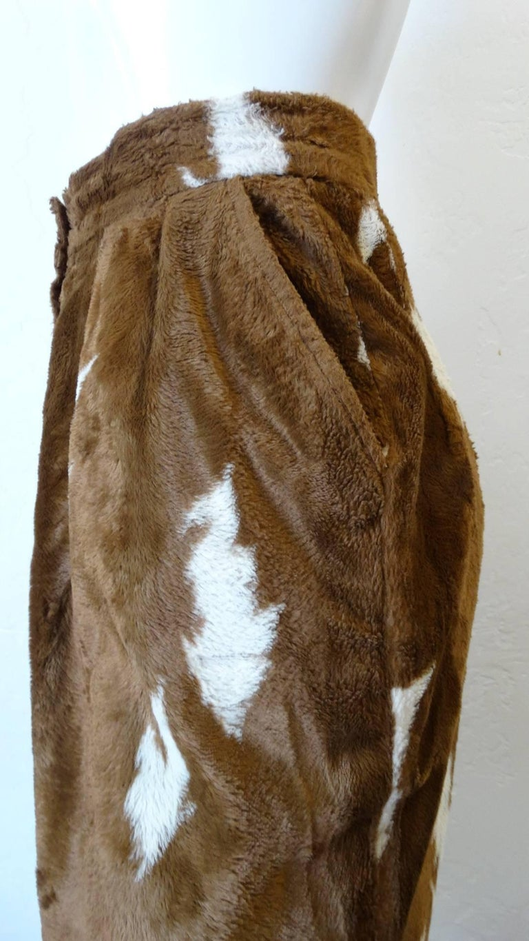 1990s Faux Cowhide Fuzzy Pencil Skirt  In Excellent Condition For Sale In Scottsdale, AZ