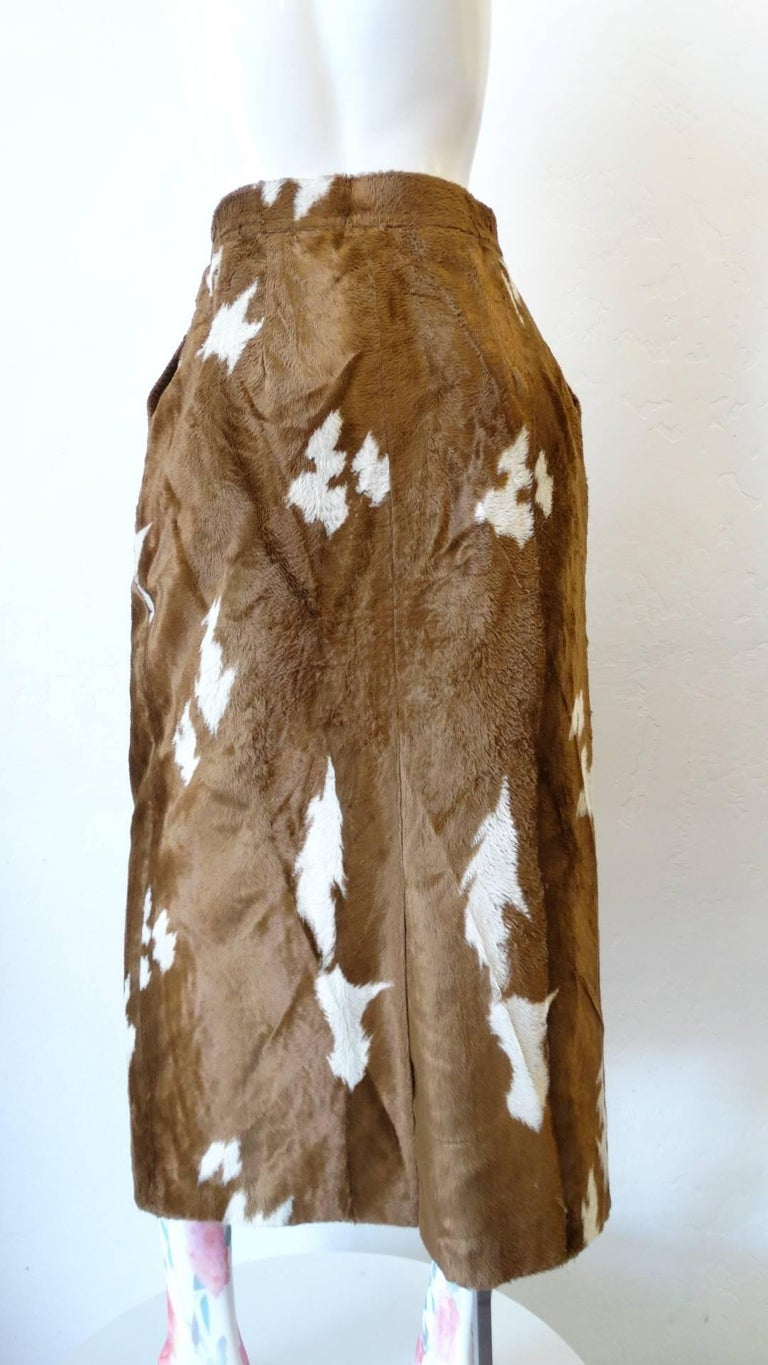 1990s Faux Cowhide Fuzzy Pencil Skirt  For Sale 1
