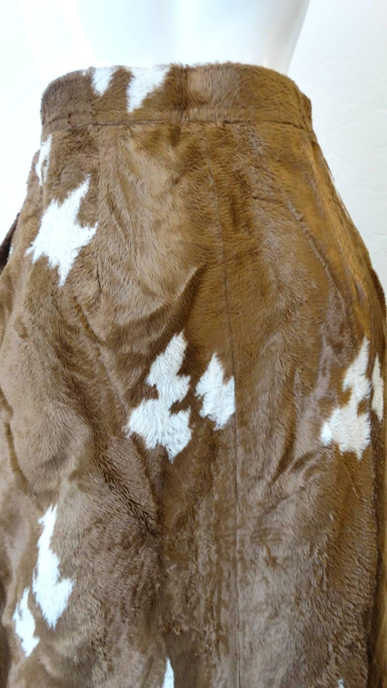 1990s Faux Cowhide Fuzzy Pencil Skirt  For Sale 3