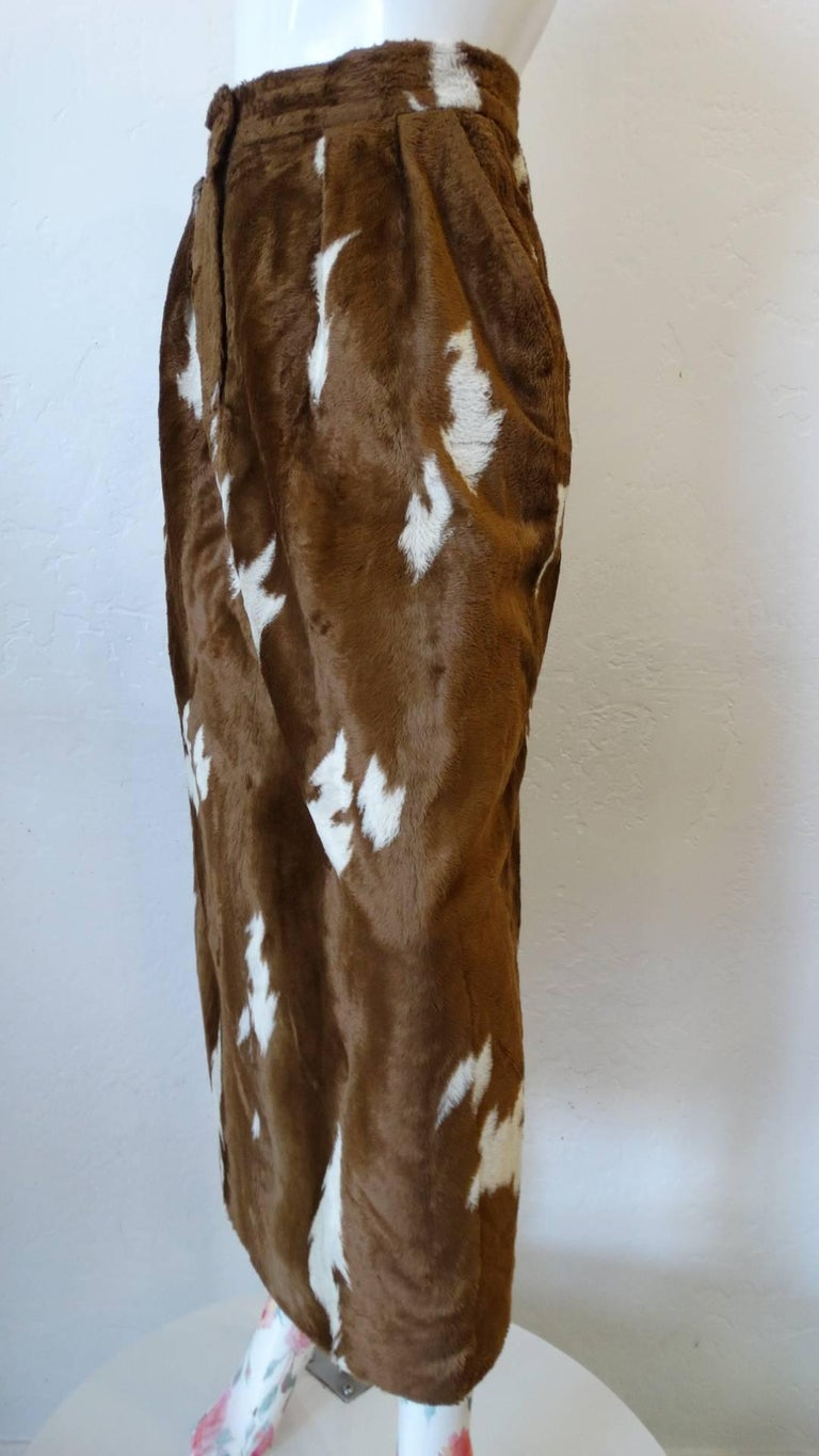 1990s Faux Cowhide Fuzzy Pencil Skirt  For Sale 4