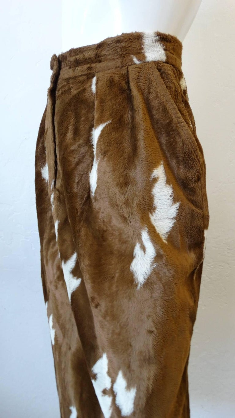 1990s Faux Cowhide Fuzzy Pencil Skirt  For Sale 5