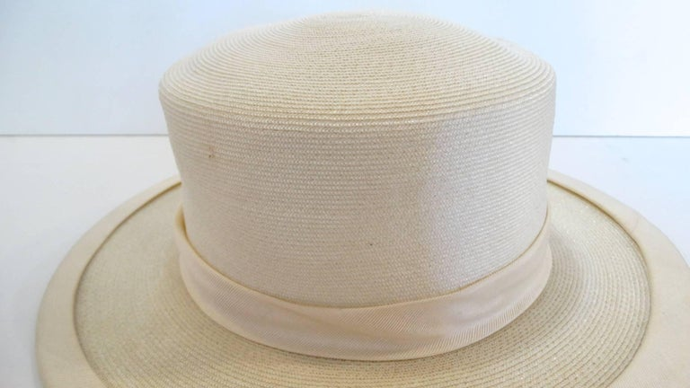 Panama style Ivory Straw Boater Hat, 1970s For Sale 4