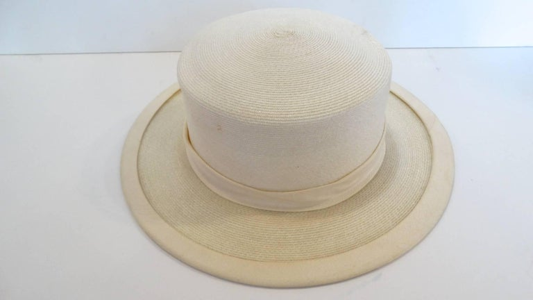 Panama style Ivory Straw Boater Hat, 1970s For Sale 1