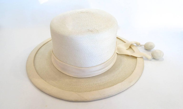 Panama style Ivory Straw Boater Hat, 1970s For Sale 2