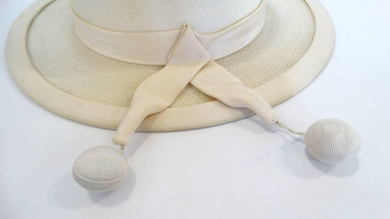 Women's Panama style Ivory Straw Boater Hat, 1970s For Sale