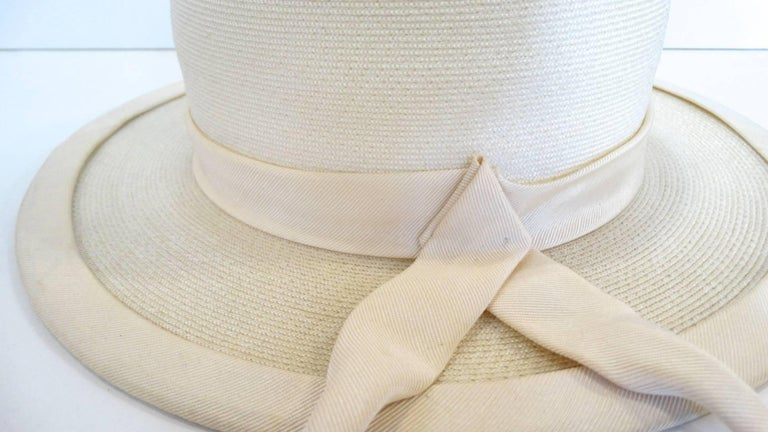 Panama style Ivory Straw Boater Hat, 1970s For Sale 3