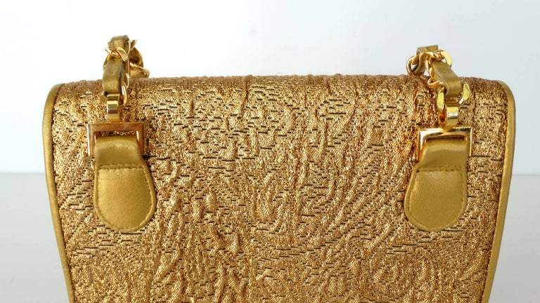 Chanel Gold Brocade Mini Half-flap Crossbody Bag, 1990s  For Sale 12