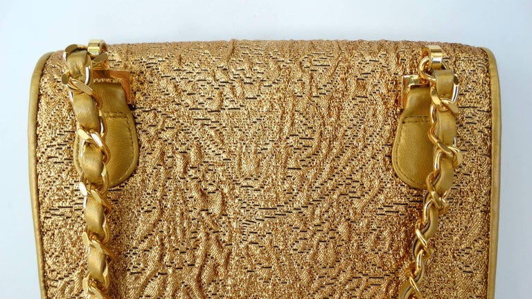 Chanel Gold Brocade Mini Half-flap Crossbody Bag, 1990s  For Sale 2