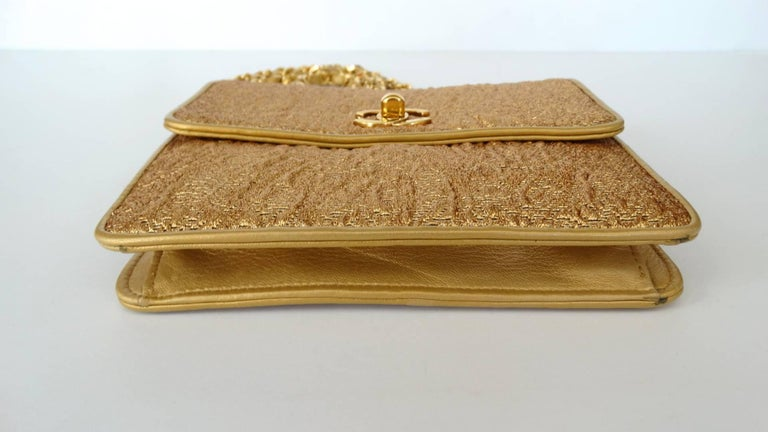 Chanel Gold Brocade Mini Half-flap Crossbody Bag, 1990s  In Excellent Condition For Sale In Scottsdale, AZ