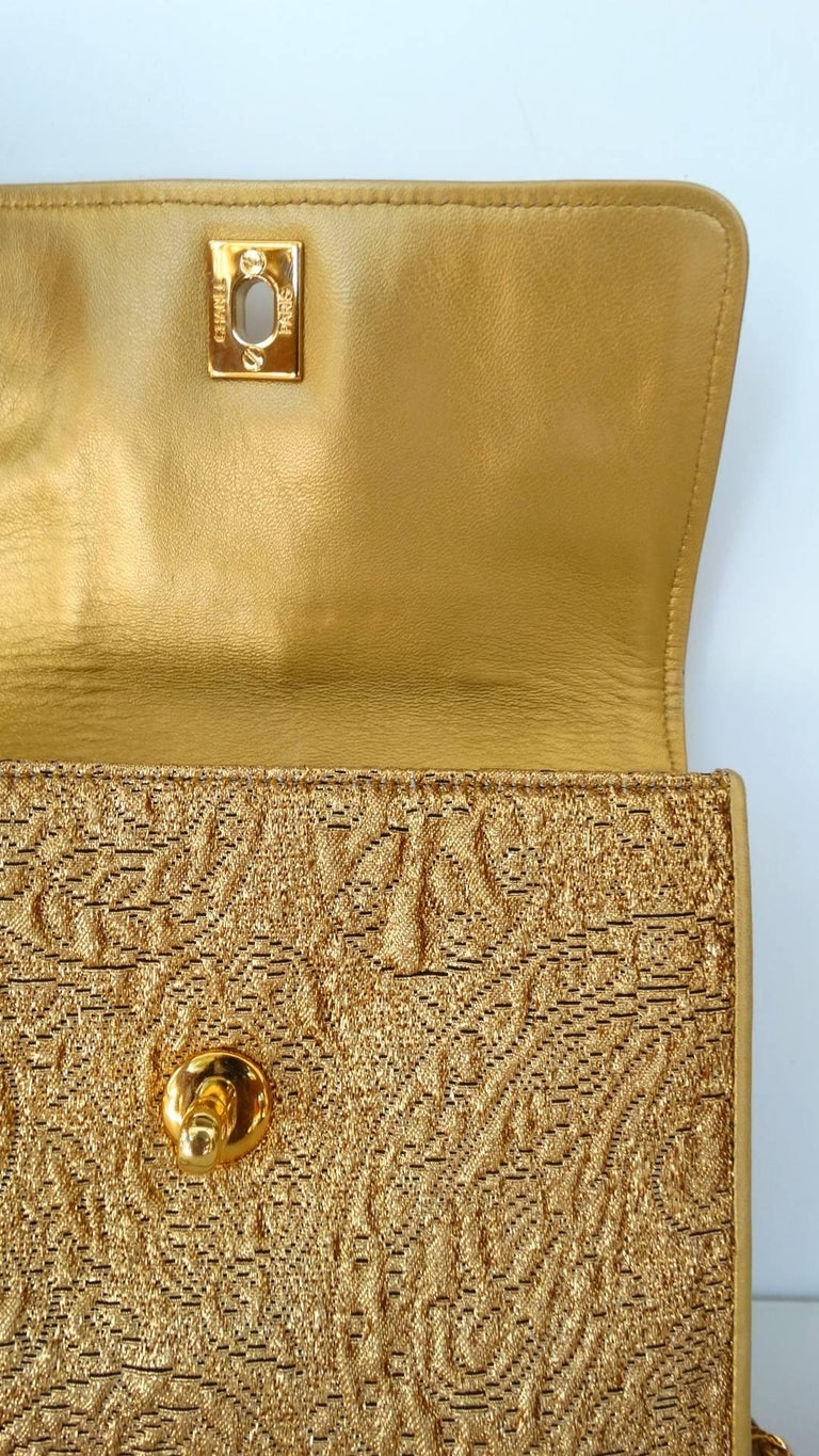 Chanel Gold Brocade Mini Half-flap Crossbody Bag, 1990s  For Sale 3