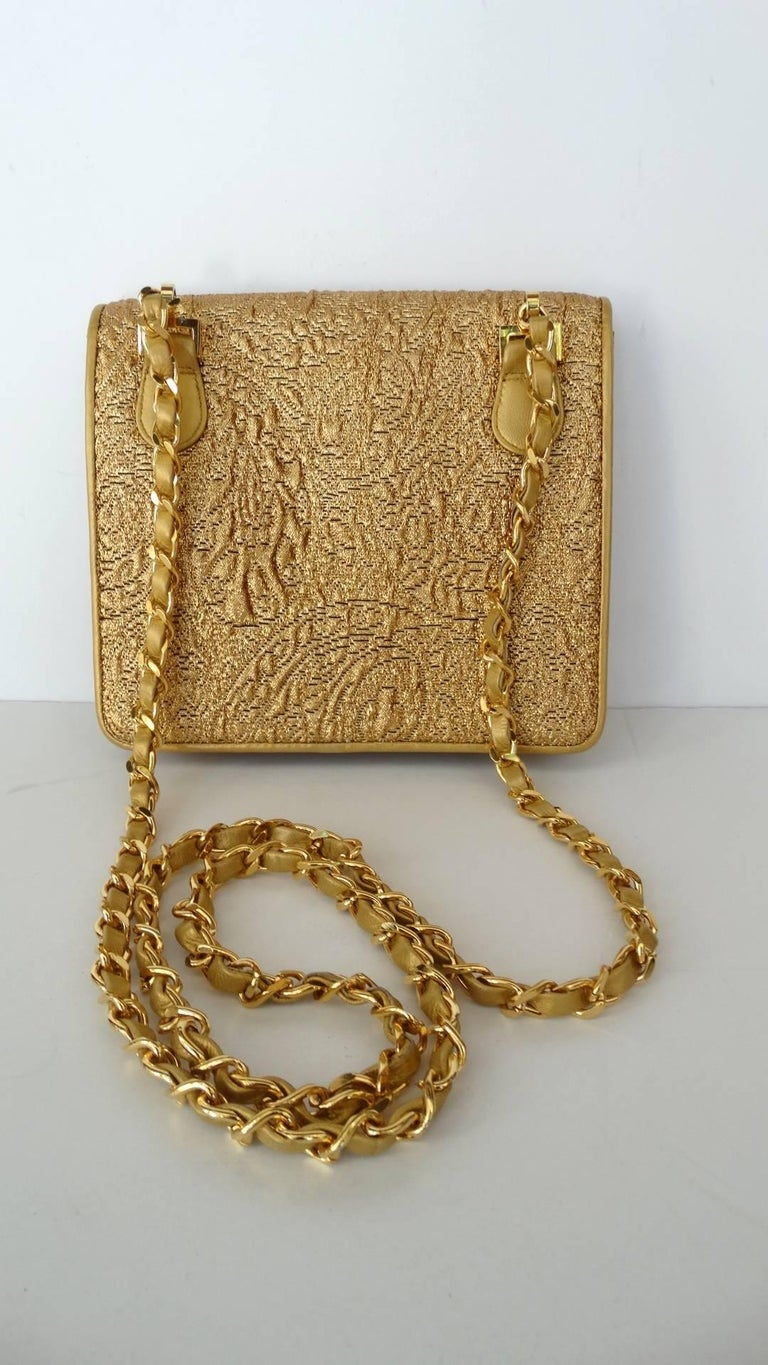 Chanel Gold Brocade Mini Half-flap Crossbody Bag, 1990s  For Sale 1