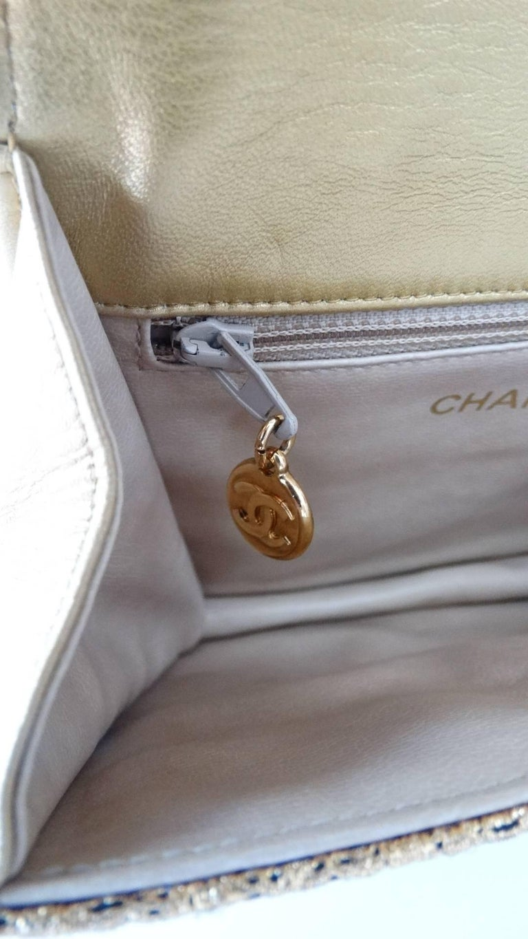Chanel Gold Brocade Mini Half-flap Crossbody Bag, 1990s  For Sale 6