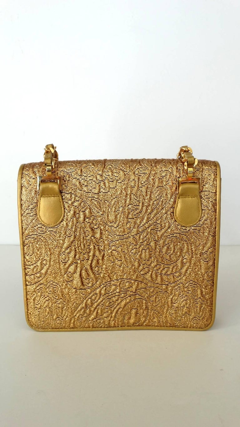Chanel Gold Brocade Mini Half-flap Crossbody Bag, 1990s  For Sale 10