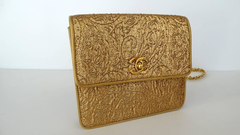 Chanel Gold Brocade Mini Half-flap Crossbody Bag, 1990s  For Sale 8