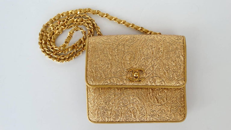 Chanel Gold Brocade Mini Half-flap Crossbody Bag, 1990s  For Sale 9