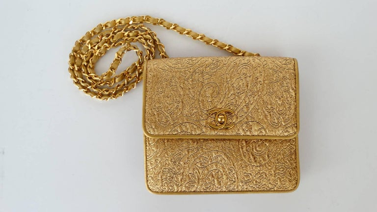 Chanel Gold Brocade Mini Half-flap Crossbody Bag, 1990s  For Sale 13