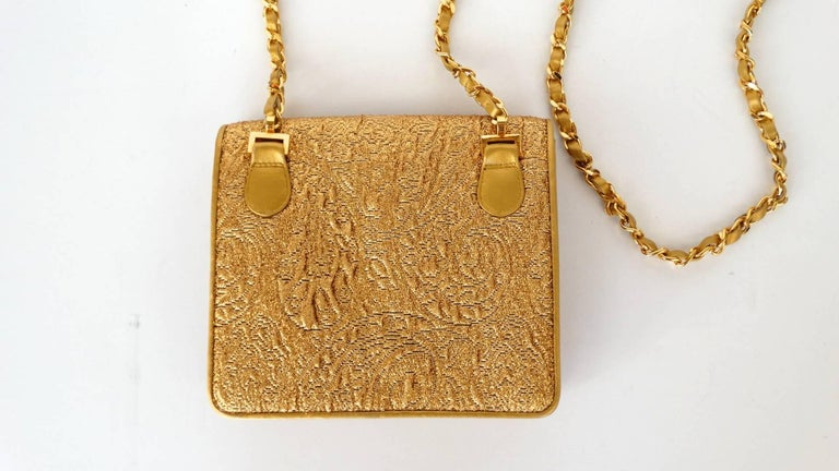 Chanel Gold Brocade Mini Half-flap Crossbody Bag, 1990s  For Sale 14
