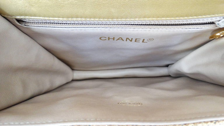 Chanel Gold Brocade Mini Half-flap Crossbody Bag, 1990s  For Sale 5