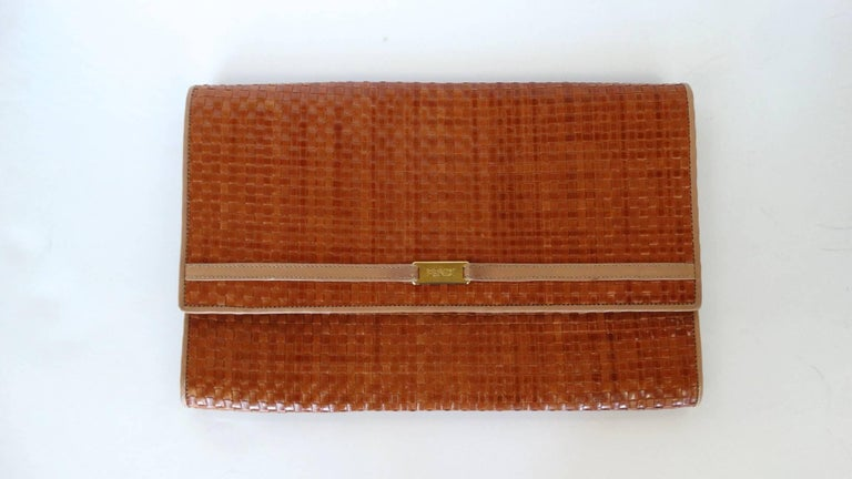 Women's or Men's Fendi Woven Clutch, 1980s  For Sale
