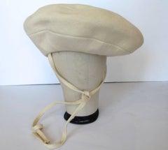 1960s Yves Saint Laurent Mod Cream Wool Saucer Tam Hat
