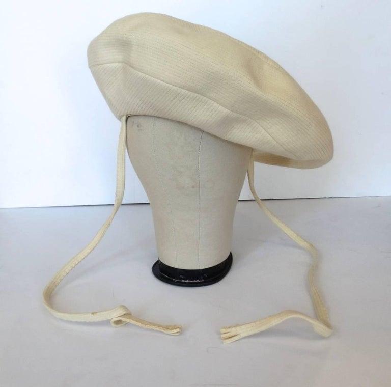 19d23205 Yves Saint Laurent Mod Cream Wool Saucer Tam Hat, 1960s For Sale at ...