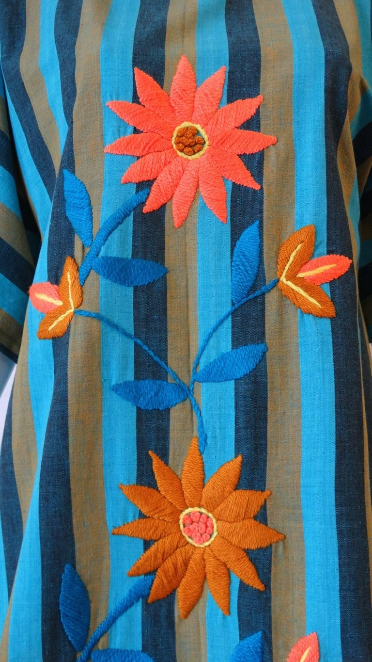 Women's 1970s Floral Embroidered Striped Cotton Kaftan  For Sale