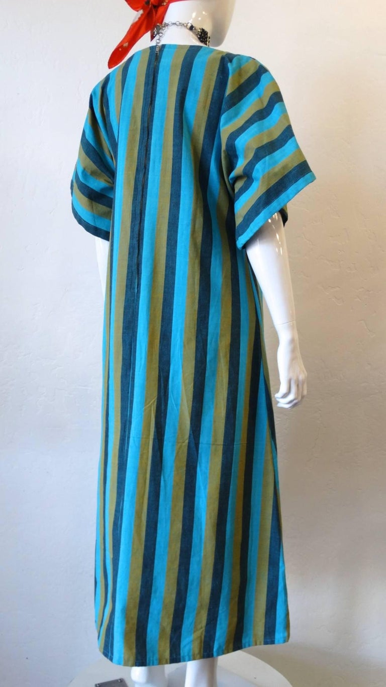 1970s Floral Embroidered Striped Cotton Kaftan  For Sale 7