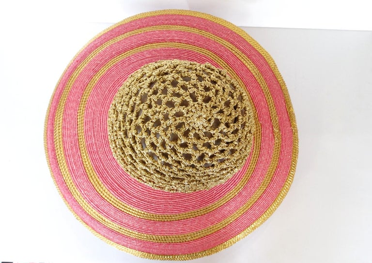 Women's Eric Javits Pink and Gold Metallic Striped  Crochet Crown Hat For Sale