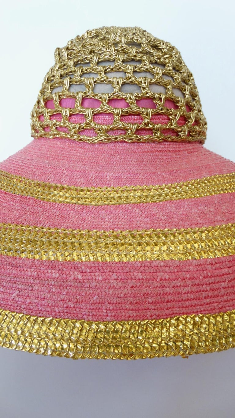 Brown Eric Javits Pink and Gold Metallic Striped  Crochet Crown Hat For Sale