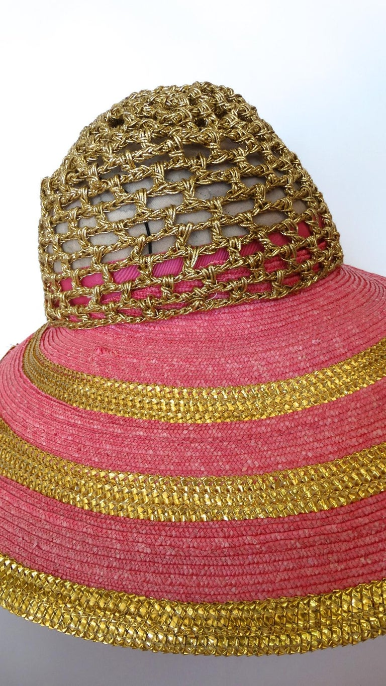 Eric Javits Pink and Gold Metallic Striped  Crochet Crown Hat In Excellent Condition For Sale In Scottsdale, AZ