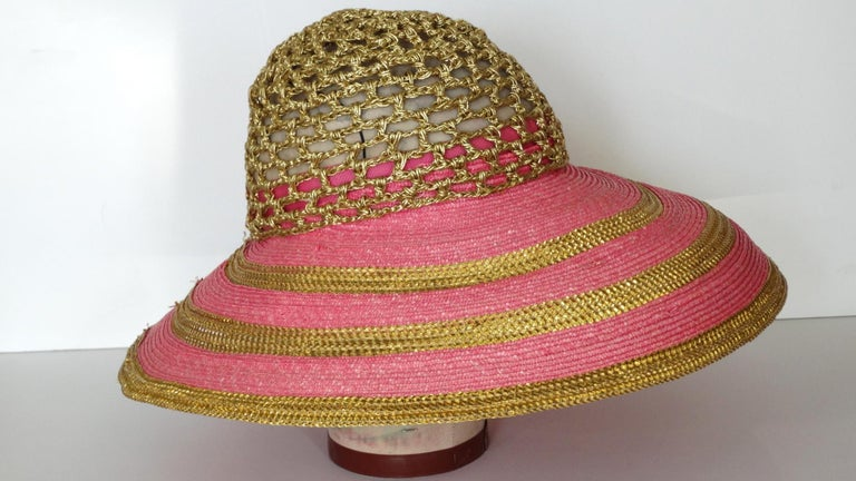 Eric Javits Pink and Gold Metallic Striped  Crochet Crown Hat For Sale 1