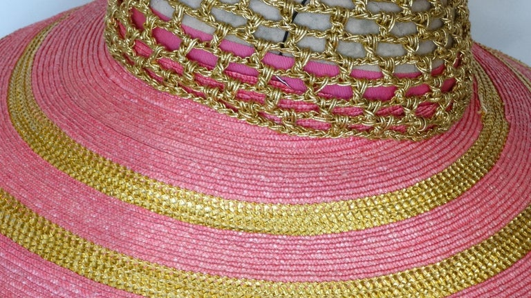 Eric Javits Pink and Gold Metallic Striped  Crochet Crown Hat For Sale 2