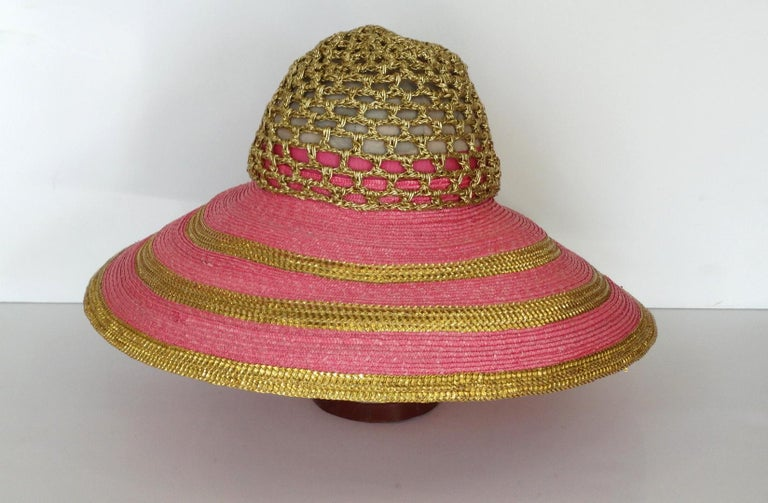 Eric Javits Pink and Gold Metallic Striped  Crochet Crown Hat For Sale 3