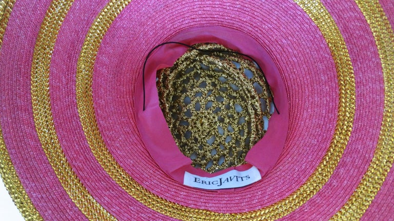 Eric Javits Pink and Gold Metallic Striped  Crochet Crown Hat For Sale 6