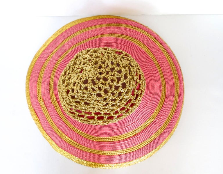 Eric Javits Pink and Gold Metallic Striped  Crochet Crown Hat For Sale 4