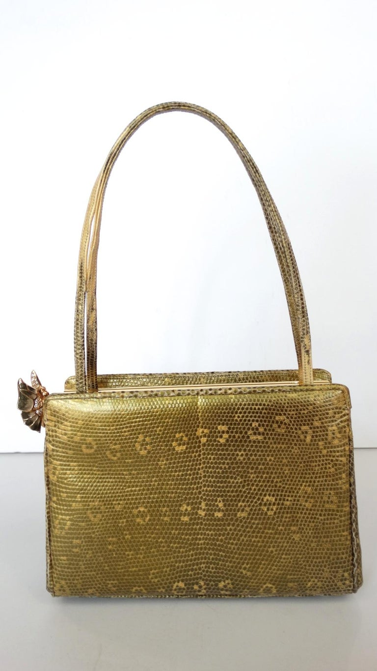 Judith Leiber Snakeskin Rhinestone Butterfly Bag  In Excellent Condition For Sale In Scottsdale, AZ
